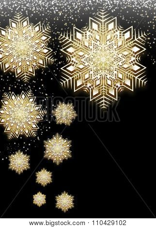 Beautiful Golden Lace Snowflakes Background with Falling Snow.