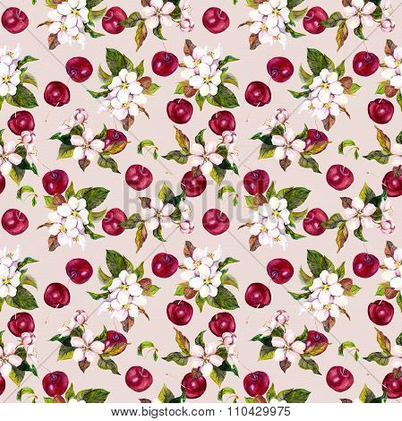 Watercolor floral pattern with cherry berries and cherry flowers