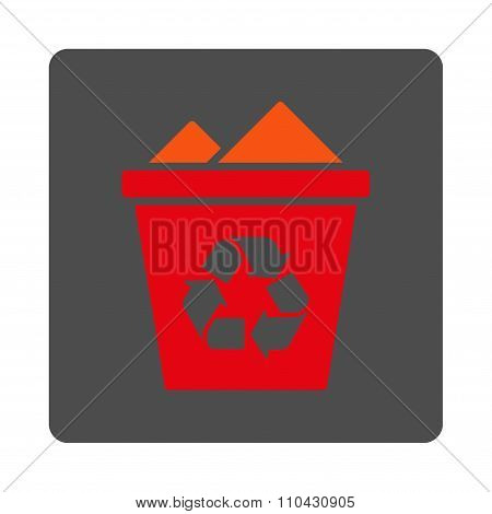 Full Dustbin Rounded Square Button