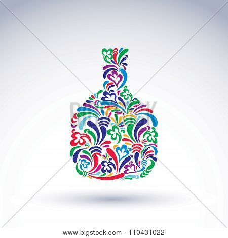 Colorful Flower-patterned Bottle, Alcohol And Relaxation Concept. Stylized Flowery Glassware. Graphi