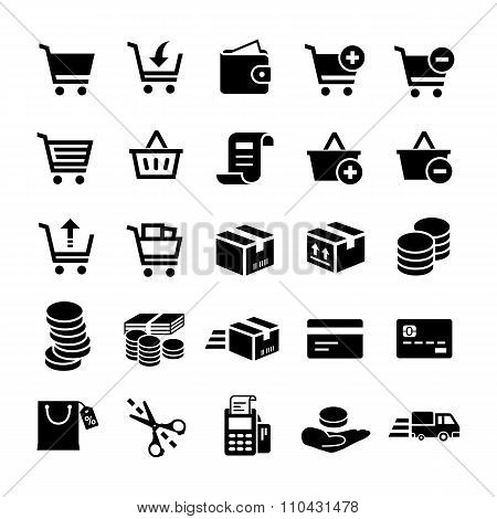 Online shopping vector icons