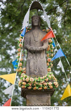 MUCHARZ, POLAND - SEPTEMBER 23, 2015: Old Wayside shrine in Mucharz near Cracow. Poland