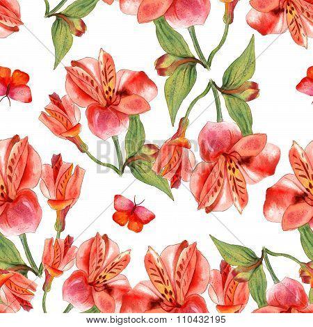 Seamless watercolor flowers (alstroemerias) and butterflies background pattern design