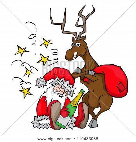 Drunken Santa Claus sleeps. Deer carries a bag.