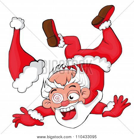 Santa Claus falling. Marry christmas. New year.
