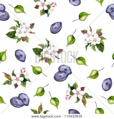 Floral seamless pattern with plums