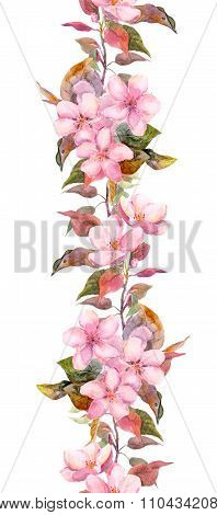 Apple or cherry pink flowers. Seamless floral stripe frame. Botanical watercolour painted edging