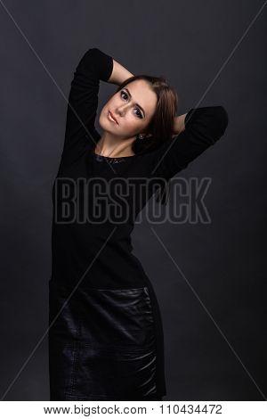 Portrait of a beautiful, charming brunette