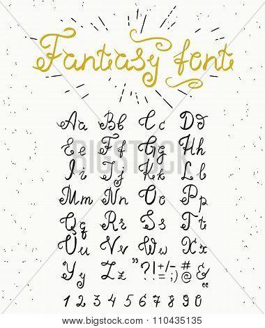 Fantasy elegant handwritten font with swirls on retro textured paper