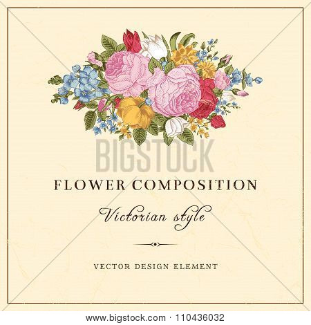 Vector vintage wedding postcard in Victorian style.