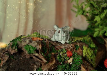 Decoration - Bunny On Driftwood With Moss