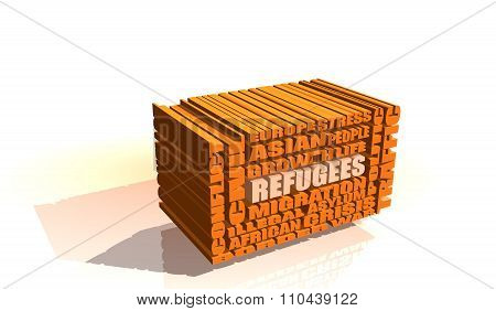 refugees integrated in 3d relative tags cloud