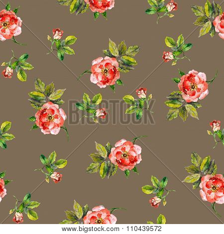 Vintage repeated seamless backdrop with retro pink roses
