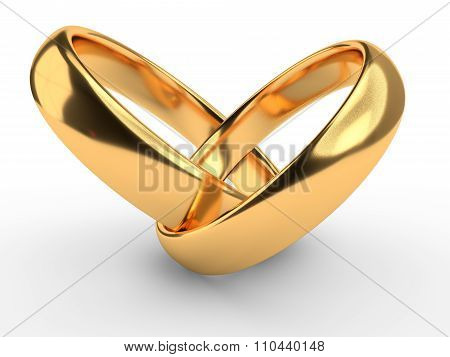 Heart With Rings Isolated On White