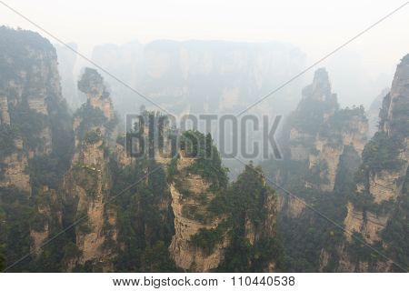Zhangjiajie National Park ( Tian Zhi Shan ) ( Tianzi Mountain Nature Reserve ) And Fog