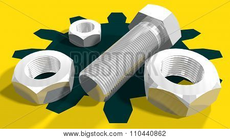 Bolt and nuts on textured background