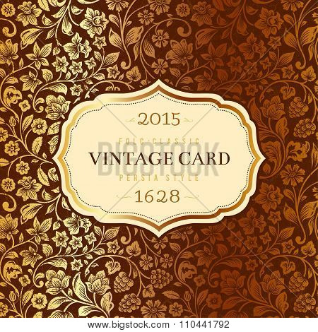 Vector luxury vintage card. Stylized silhouettes of flowers and berries on a brown background.