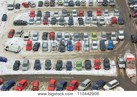 OSIJEK, CROATIA - December 22: Parking lot with many cars in winter, on December 22, 2013 in Osijek, Croatia.