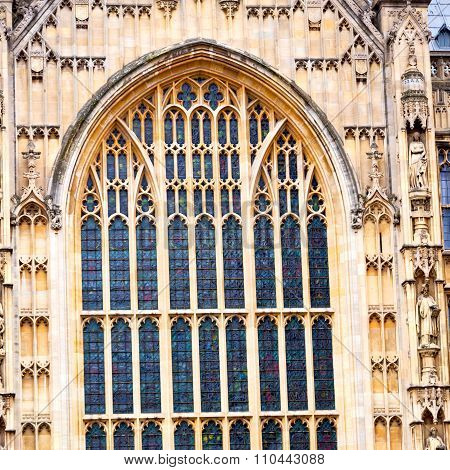 Old In London  Historical    Parliament Glass  Window    Structure And Sky