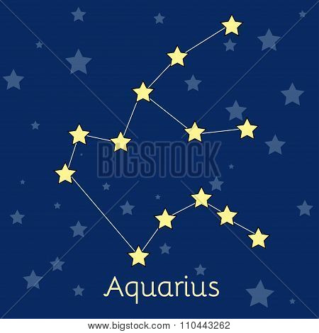 Aquarius Water Zodiac  Constellation With Stars In Cosmos. Vector Image