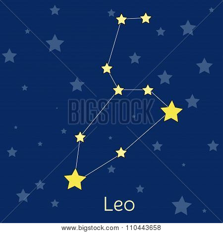 Leo Fire Zodiac  Constellation With Stars In Cosmos. Vector Image