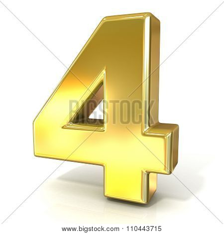 Numerical digits collection 4 - FOUR. 3D golden sign