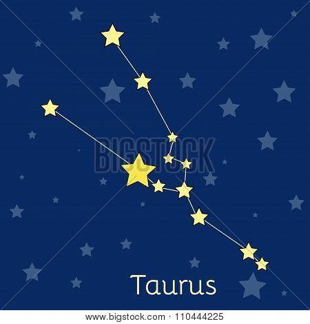 Taurus Earth Zodiac Constellation With Stars In Cosmos. Vector Image