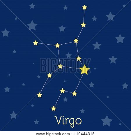 Virgo Earth Zodiac Constellation With Stars In Cosmos. Vector Image