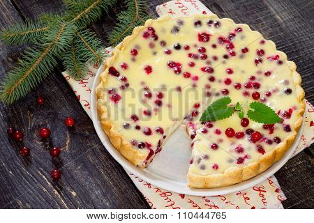 Cakes, Pies, Shortbread Dough With Fresh Cranberries Flooded New Year's Eve.
