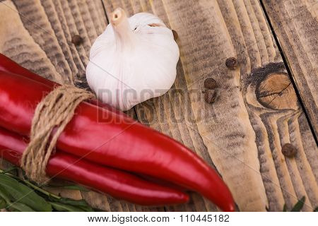 Ripe Raw Garlic And Chili Pepper