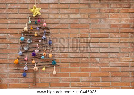 Xmas Decorations Crafts Tree Wall Pompom