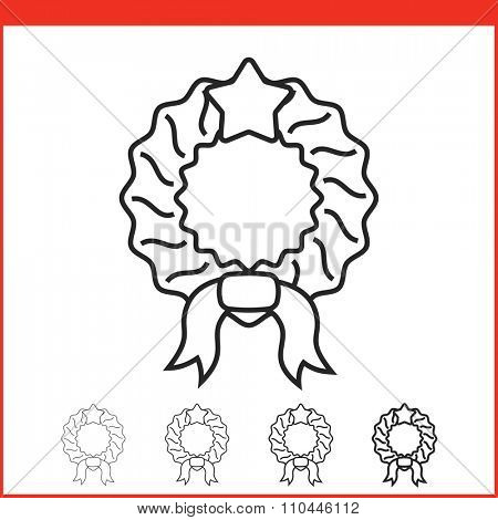 Christmas wreath icon. Vector icon. Linear style