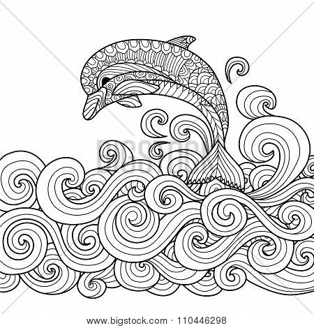 Dolphin Zentangle