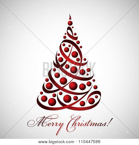 Merry Christmas card with beautiful tree of ribbons and baubles, vector