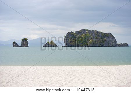 Malaysia, Langkawi. View Of The Beach And The Cliffs Of The Andaman Sea..