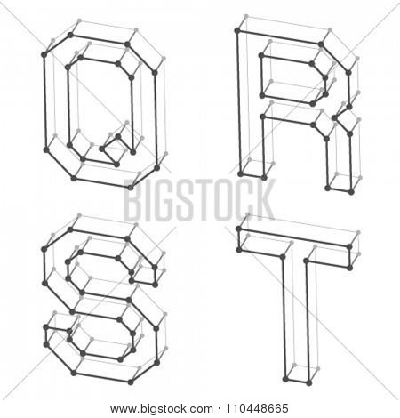 vector wireframe font alphabet letters Q R S T
