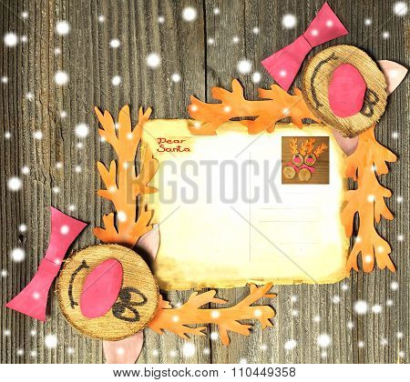 Funny reindeers on Christmas card paper vintage