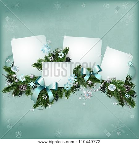 Vintage Multilayer Card For The Winter Holidays