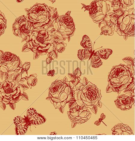 Seamless vector floral vintage pattern with Victorian bouquet of dark red roses and claret butterfli