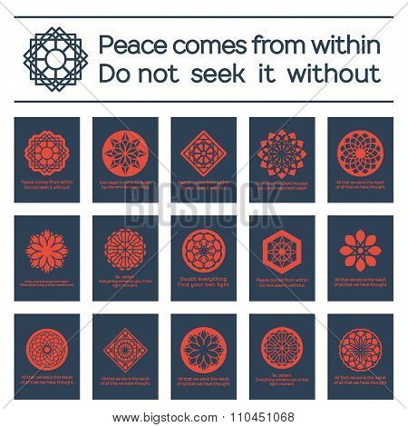 Asian Religious Posters with Buddha Quotes