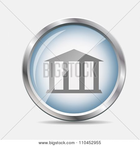 Museum Glossy Icon Vector Illustration