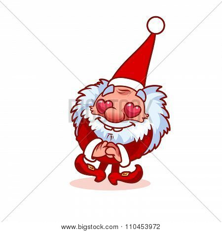 Enamored Christmas Gnome In Red Costume.