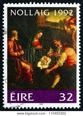 Postage Stamp Ireland 1992 Adoration Of The Shepherds, Painting