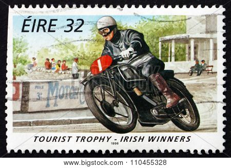 Postage Stamp Ireland 1996 Stanley Woods, Motorcycle Racer