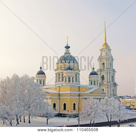 Winter, City Of Rybinsk, Transfiguration Cathedral.