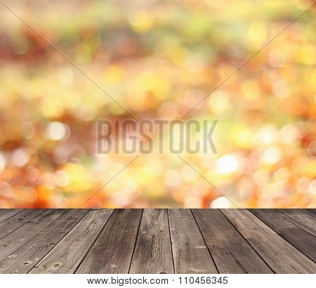 Empty Wooden Flooring On An Indistinct Background With A Side.