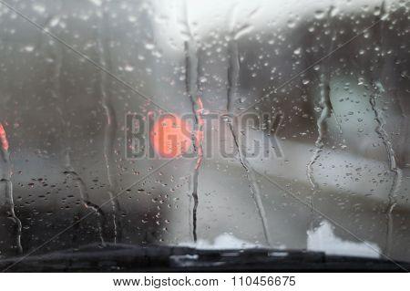 Water Droplets On Windscreen