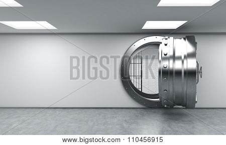 Open Round Metal Safe With Lock-boxes Behind Bars, Bank Depository