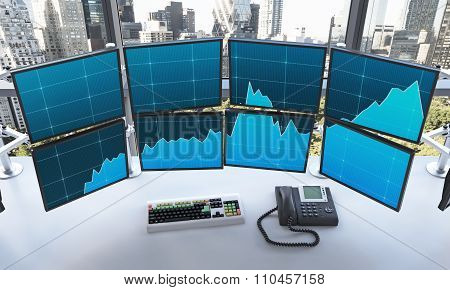 Office With Switched On Monitors, Processing Data, Trading,  New York