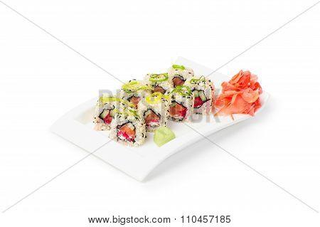 Maki Sushi On White Plate - Japanese Cuisine